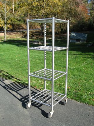 Vtg Industrial Factory Stainless Steel Cart On Casters,  Kitchen Storage Rack photo