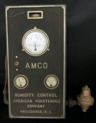 Antique Amco Industrial Building Humidity Gauge Machine Steampunk photo