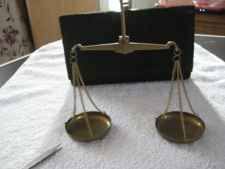 Vintage Solid Brass Jewellery Scales And Weights In Case photo