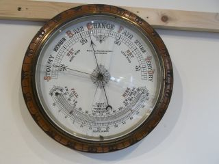 Very Large Antique Adie & Wedderburn Wooden Circular Barometer And Thermometer photo