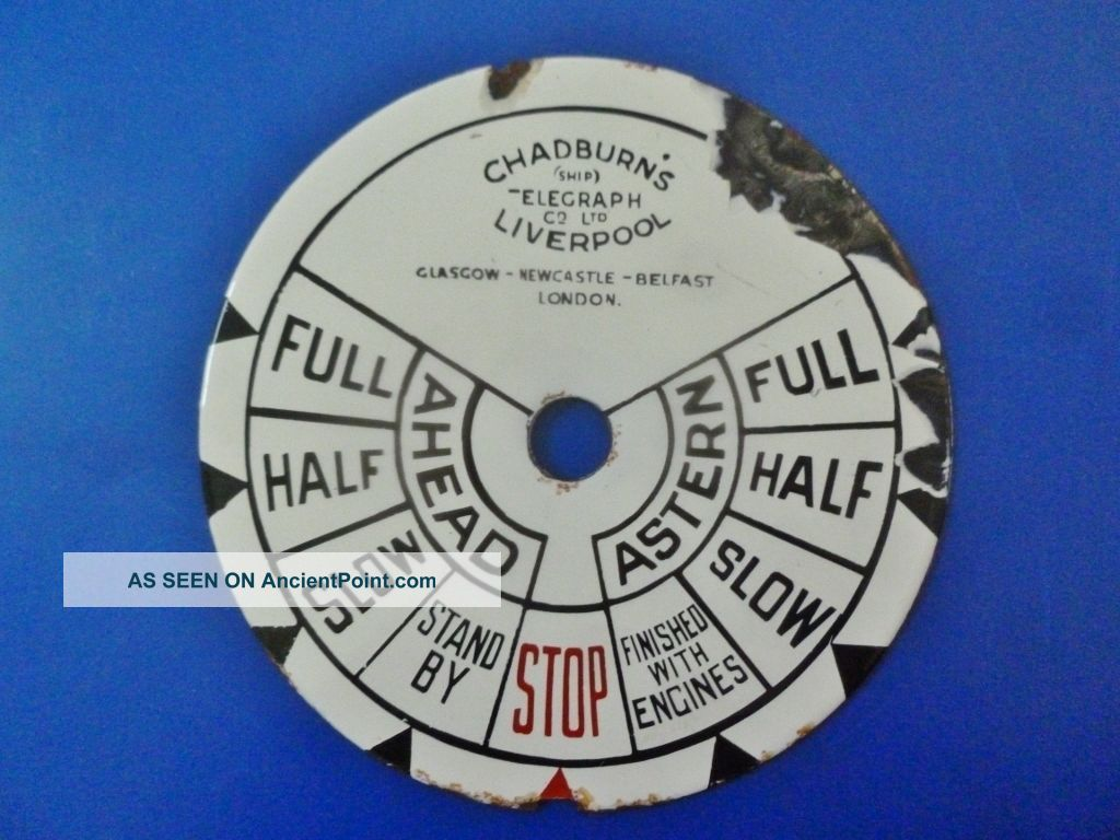 Chadburn ' S Pre1946 (ship) Telegraph Co Ltd Liverpool Control Face Plate Telegraphs photo