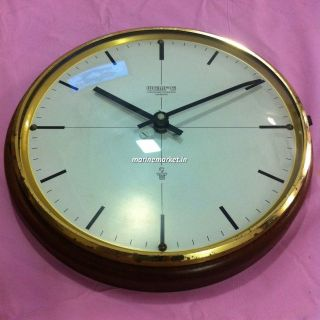 Very Rare Wempe Slimtype Marine Clock Of Wood And Brass From Germany. photo