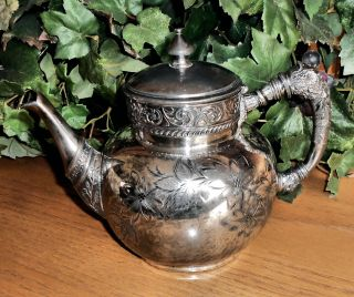 Rare Atq Rockford Silver Co Exquisite Details Quadrupld Slv Plate Teapot 985 - 6 photo
