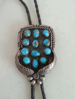 Old Pawn Impressive Silver,  Morenci Turquoise & Leather Bolo By Ted Castillo photo