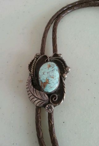 Old Pawn Impressive Childs Silver And Turquoise Bolo With Leather Straps photo