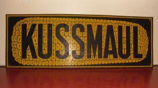 Vtg Kussmaul Corn Sign 1930 - 40 ' S Tin Tacker Metal Folk Art Ear Seed Feed Farm photo