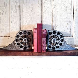 Antique Cast Iron Wheels Rolling Ladder Library Industrial Steampunk Art Ornate photo