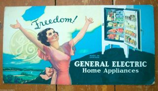 Vtg Ge General Electric Refrigerator Advertising Sign Poster Elvgren Pin - Up Girl photo