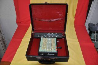 Vtg Retro Monroe Hand Crank Calculator Lx - 160 Carry Case & Keys photo