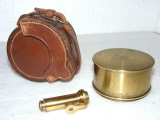 19th C.  Box Sextant By J.  & W.  E.  Archbutt In Leather Case photo