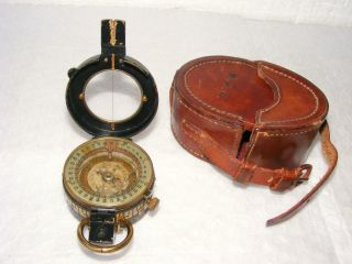 Liquid Filled Prismatic Compass By E.  R.  Watts & Son In Leather Case,  1930 photo