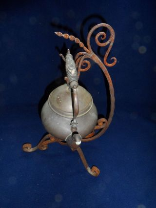 Vintage Black Twisted Wrought Iron Copper Tea Pot Kettle Holder photo