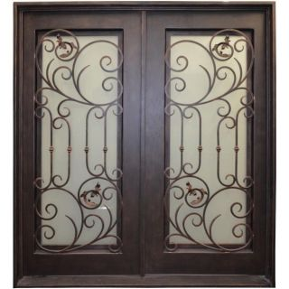 Venice Double Wrought Iron Entry Door 61.  5