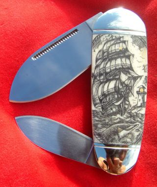 Nautical Scrimshaw,  Ship,  Dolphin,  Compass 2 Blade Folding Knife/knives photo