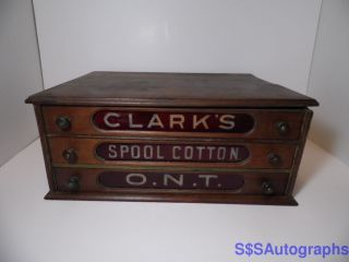 Rare Antique Vintage Clark ' S Spool Cotton O.  N.  T.  Store Display 3 Drawer Cabinet photo