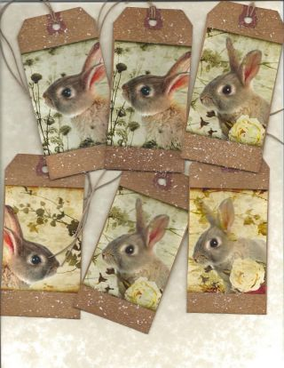12 Primitive Tags Sweet Rabbit Hang Tags Folk Grungy photo