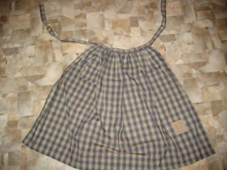 Primitive Prairie Apron,  Blue Homesun Plaid,  30