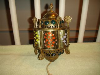 Vintage India Or Middle Eastern Hanging Lamp - Unique - Brass Metal - Multi Colors photo