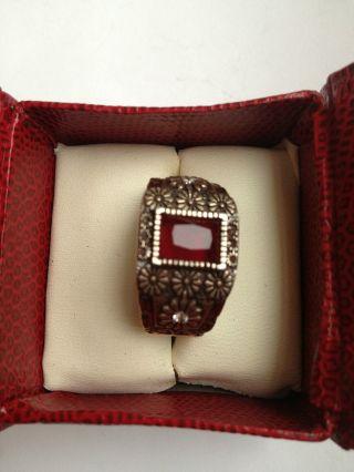 Antique Ruby With 2 Pieces Zircon Stone Ottmani Design Silver Bronze Man Ring photo