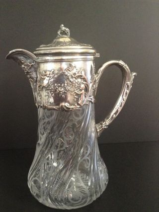 Rare Rococo Silver Plate Crystal Pitcher photo
