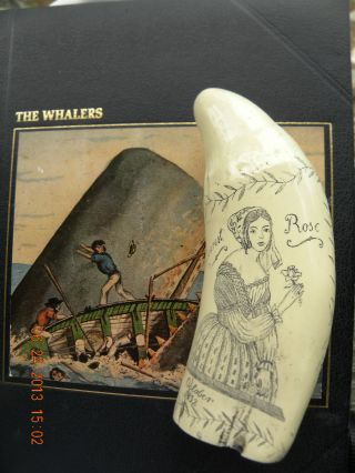 Scrimshaw Sperm Whale Tooth Resin Replica The Ship