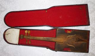 Antique Primitive Folk Tramp Art Cigar Box Violin Handmade W/custom Case photo