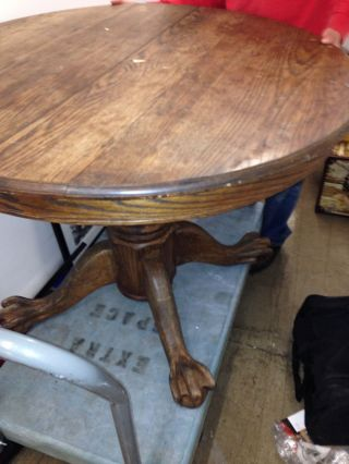 Antique Round Claw Foot Tiger Oak Table photo