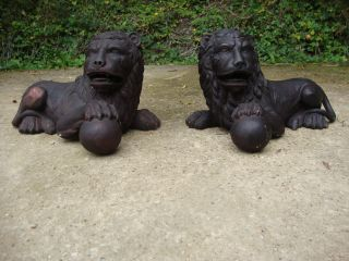 Large Antique Lion Figurines Statues - Door Stops ? Garden ? photo