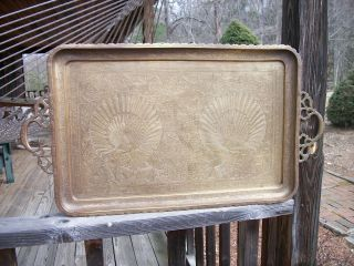 Middle East Solid Brass Tray Ornate Peacock Hand Etched 28 1/2