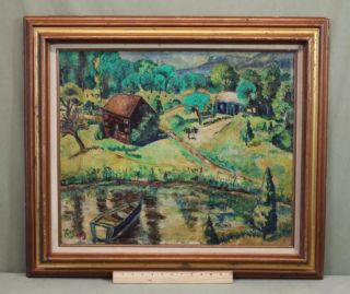 Antique Lou Miles Wallkill Valley New York Mountain Landscape Oil Painting Nr photo