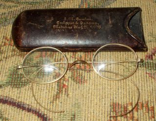 Vintage 1920 ' S Wireframe Eye Glasses With Leather Case - Lqqk photo