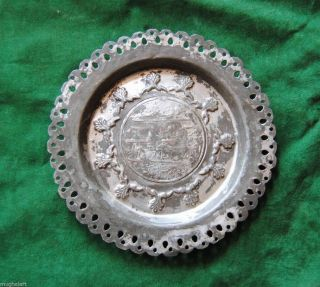 Antique Islamic Ottoman Turkish Calligraphy Tinned Copper Plate Dish No Finial photo
