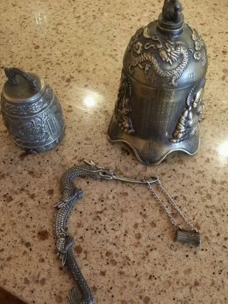 Bronze Metal Gold Tone Chinese Buddha Dragon Kwan Yin Bell photo