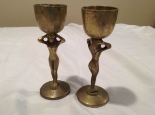 Vintage Korean Small Brass Chalice Or Goblet,  Woman ' S Figure Handle,  Set Of 2 photo