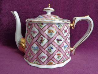 Victoria ' S Garden Porcelain Teapot Pink/floral 3 Cup photo