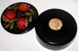 Vintage Russian Large Round Hand Painted Papier Mache Box (with U.  S.  S.  R.  Label) photo