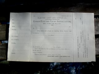 Orig 1880s Edison Electric Co.  29 W 26 St Nyc Order Form For Electric Lighting photo