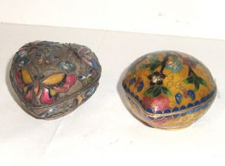 Vintage Cloisonne Enamel Heart Shape Floral Trinket Boxes photo