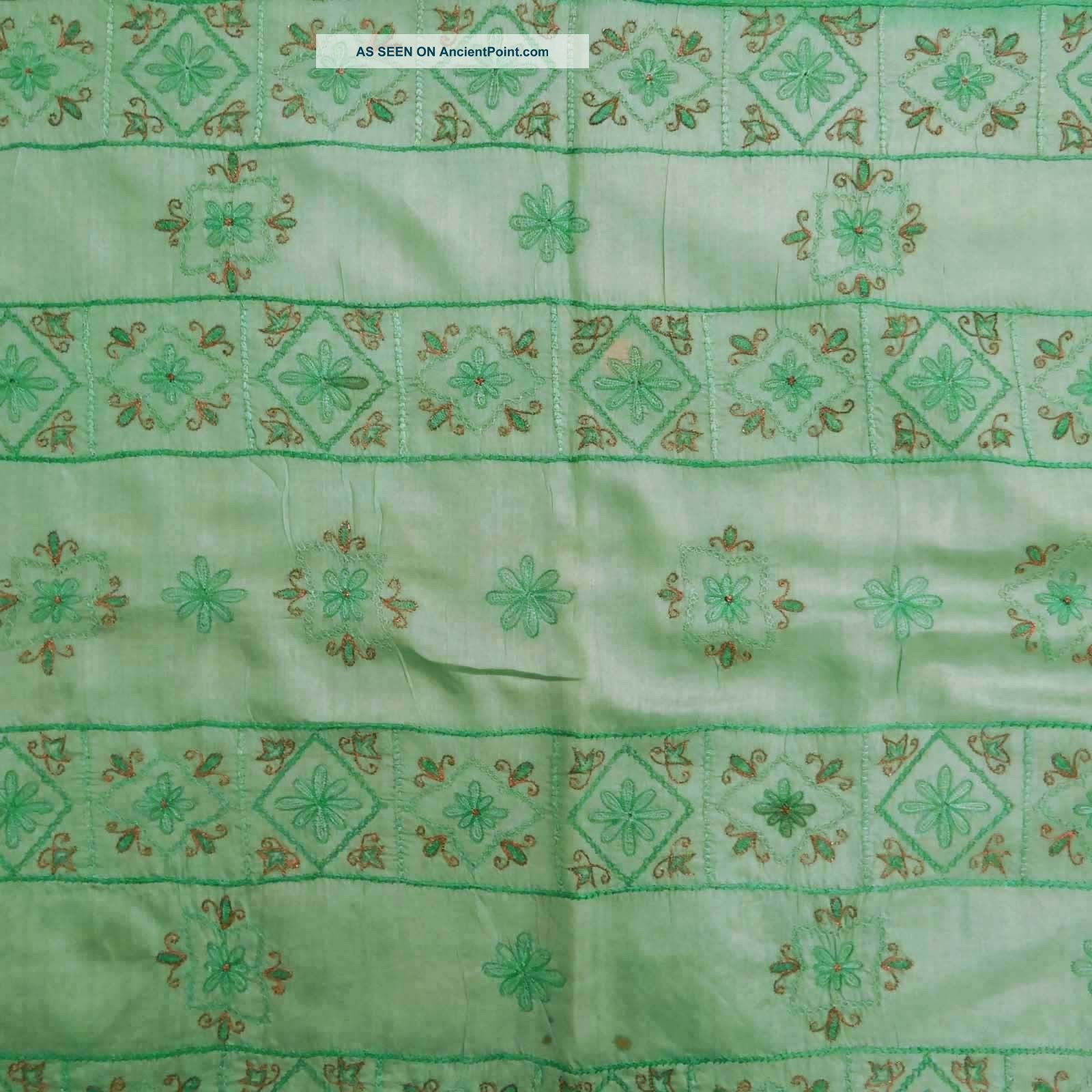 Vintage Saree 100% Pure Silk Embroidered Art Craft Sari Fabric India Wrap Green Other photo