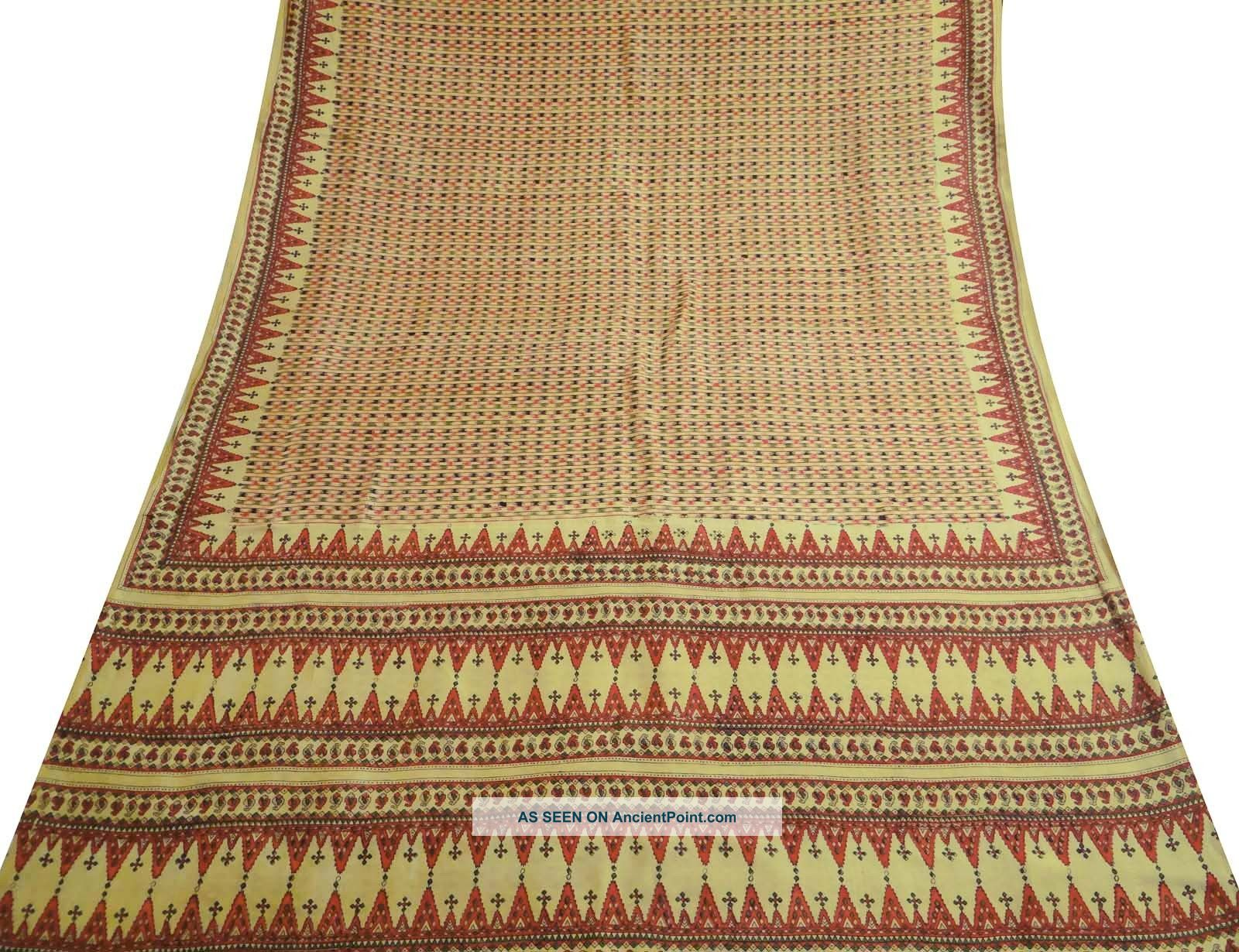 Vintage Pure Silk Blend Saree Fabric Printed India Art Deco Sari Yellow Sarong Other photo