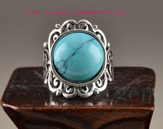 Collectable Tibet Silver Turquoise Old Handwork Inlay Fine Lucky Rare Noble Ring photo