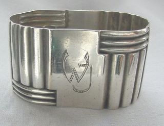 Antq Art Deco France Silverplate Oval Napkin Ring Monogram
