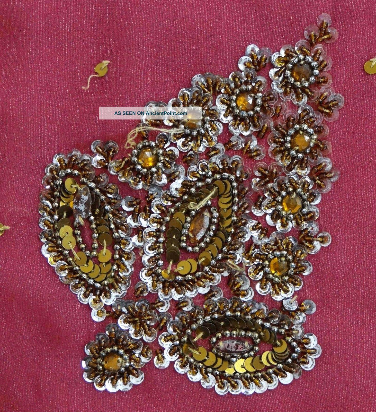 Vintage India Sari Magenta Beaded Saree Fabric Craft Deco Wrap Women Soie Sarong Thimbles photo