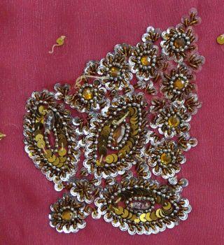 Vintage India Sari Magenta Beaded Saree Fabric Craft Deco Wrap Women Soie Sarong photo