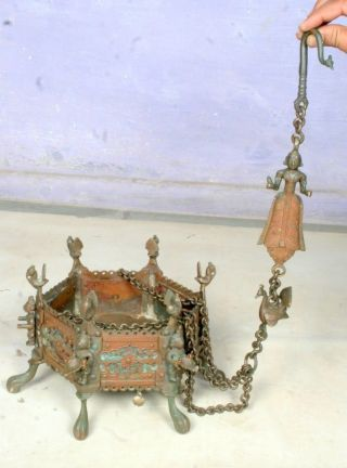 1700 ' S Antique Copper Brass Hand Carved Hindu Temple Fire Pit Hanging Sigari photo
