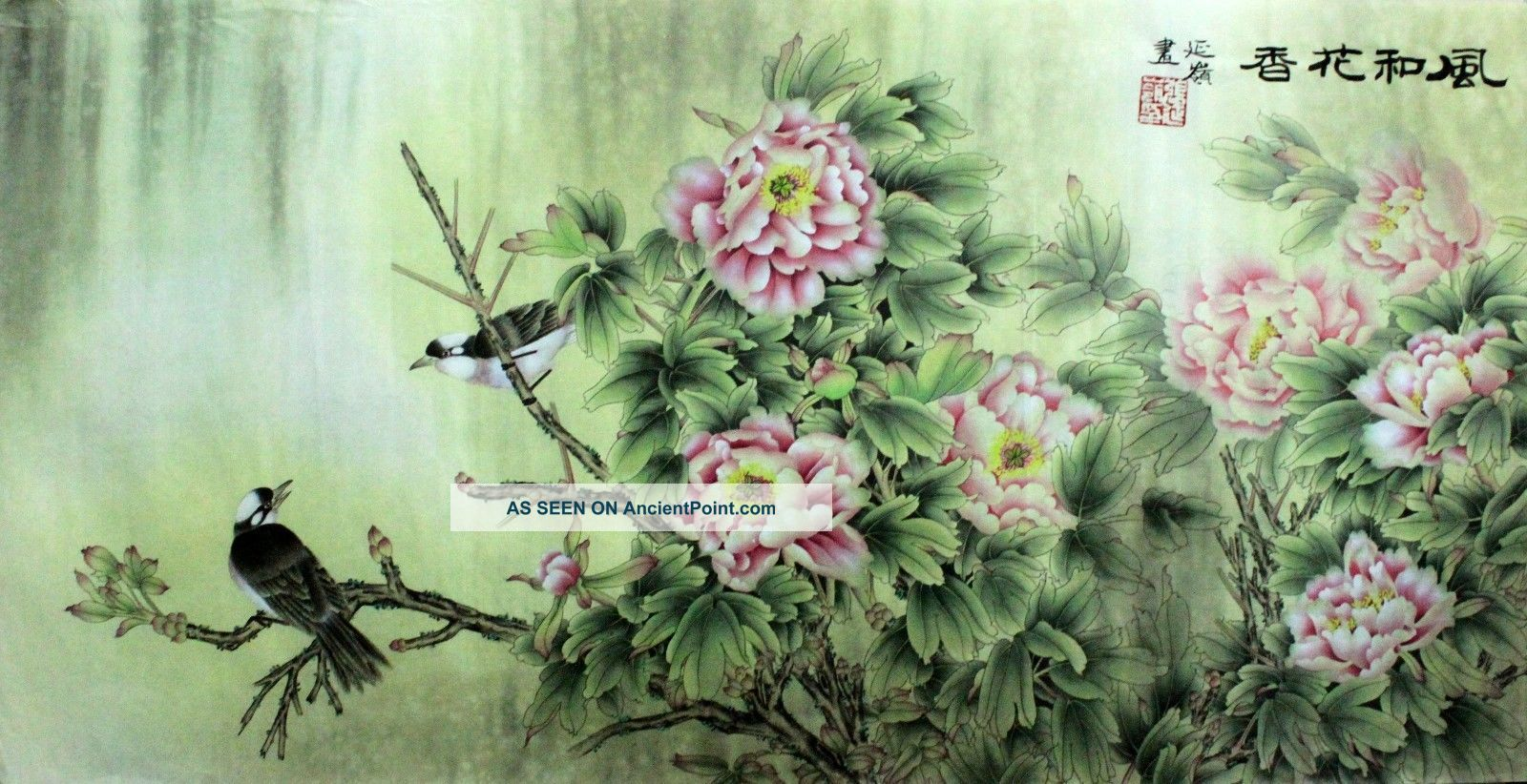 Oriental Asian Art Chinese Painting 52x25 About Lotus Flowers