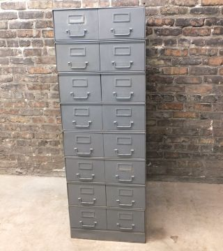 Vintage Mid - Century Metal File Storage Steam Punk Gray Record Files Wooster,  Oh photo