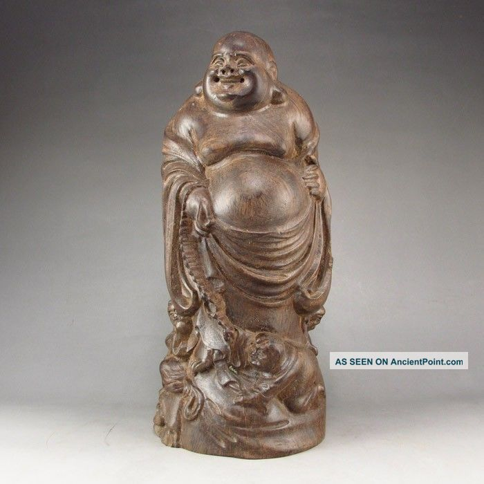 Collectibles Hand - Carved Chinese Eaglewood Hard Wood Statue Laughing Buddha Buddha photo