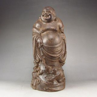 Collectibles Hand - Carved Chinese Eaglewood Hard Wood Statue Laughing Buddha photo