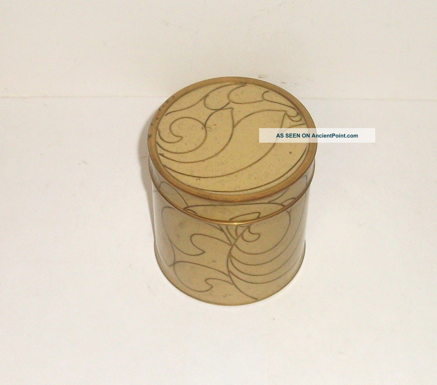 Old Cloisonne Cream Enamel Abstract Design Humidor Jar Canister Box Boxes photo